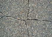 BEFORE exposed concrete aggregate Crack Repair...