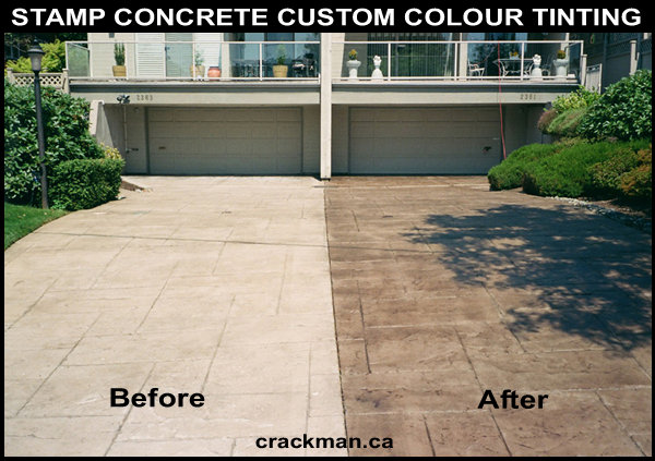 Residential Stamped Concrete And Concrete Slab Driveway