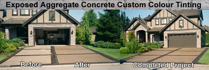 We do custom colour tinting on stamped concrete and concrete driveways, patios, sundecks and staircases