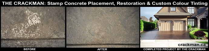 Click here for a larger image of this stamp concrete custom colour tinting repair job...